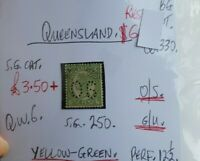 QUEENSLAND QUEEN VIC 6D YELLOW GREEN OS G/U.STATE STAMP SEE PICS FOR DETAILS