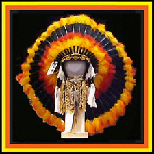 "Genuine Native American Navajo 36"" Indian Headdress ""FIREBALL"" Yellow Red Black"