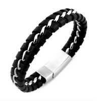 Fashion Mens Boys PU Leather Braided Wristband Bracelet Steel Clasp Black