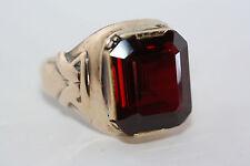 Statement Antique 9.13 CT Emerald Cut Dark Red Ruby 10K Gold Estate Ring Sz 7
