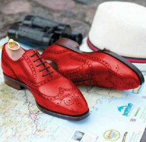 Customize Red Color Brogue Wingtip Real Leather Men Oxford Formal Party Shoes