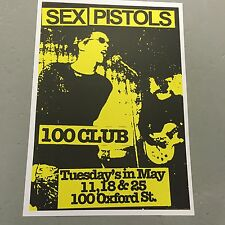 SEX PISTOLS - U.K. CONCERT POSTER 100 CLUB LONDON TUESDAYS IN MAY (A3 SIZE)