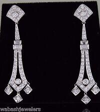 MXM Vintage 18K White Gold 3.0ct Diamond Baguette Drop Dangle Chandelier Earring