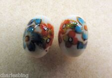 2 Japanese Tensha Beads CLEMETIS on IVORY colored FOOTBALL Beads 14mm