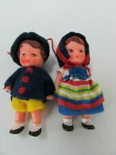 "2 Vintage Rubber Dolls Boy Girl 3"" 31683 German ?"
