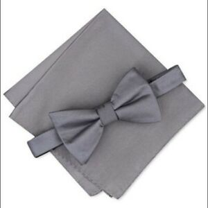 Alfani Solid Textured Pre-Tied Bow Tie & Pocket Square Set NEW Charcoal Gray