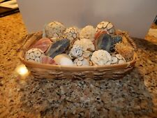 Vintage Used Basket Full of Nautical Sea Shells Beach Ocean Seashore