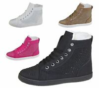 Womens Warm Linned Ankle Boots Ladies Girls Lace Up Winter Flat Shoes Size