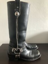 BALENCIAGA Black Leather Harness Riding Boots Size 37 (us 8)