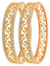 Traditional Gold Plated American Diamond Bracelet Wedding Jewelry Bangles Set