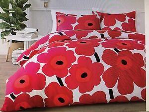 Marimekko Unikko Full/Queen Comforter Duvet Cover Red  CRATE & BARREL 100%Cotton