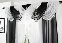 SPARKLY CRYSTAL BEADED DROPLETS TRIMMED SOFT VOILE NET CURTAIN SWAG  £5.95 EACH