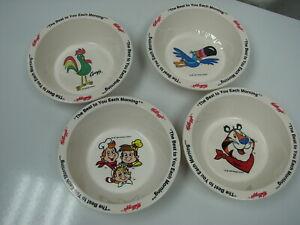 Vintage 1995 Kellogg Cereal Bowls Tony, Corny, Toucan Sam, Snap Crackle Pop, NOS