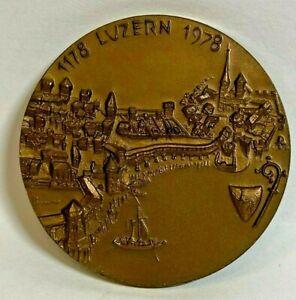 SWITZERLAND 1178 -1978 * RARE * GEM BRONZE MEDAL TOKEN Cityview of LUCERN CANTON