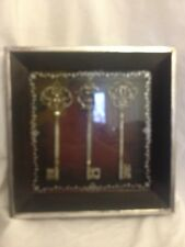 Vintage Set Of 3 Keys Framed Shadow Box Decorative Keys