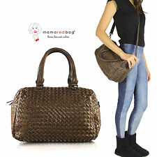 Borsa Bauletto Donna a Mano a Tracolla Intrecciata Crossbody Handbag Bowler Bag