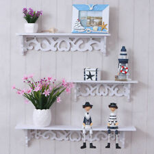 3Pcs Chic Wooden Wall Mounted Shelf Display Filigree Floating Storage Unit Decor