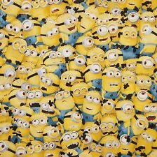 DESPICABLE ME 1 IN A MINION PACKED YELLOW NURSERY FAT QUARTER COTTON FABRIC