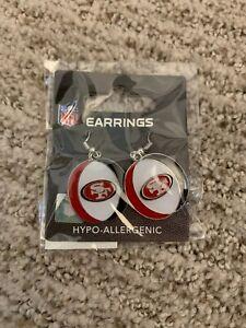 San Francisco 49ers NFL Dangle Logo Earrings Super Bowl Party Accesories
