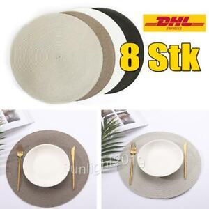 8 Stk Tischset Platzdeckchen Platzset Küche abwaschbar Kunststoff PVC rund 38cm