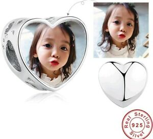 Personalised Heart Photo Charm 925 Sterling Silver Bead Bracelet Custom Child