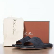 LORO PIANA 645$ Sea-Slide Walk Slide Sandals In Navy Blue Suede