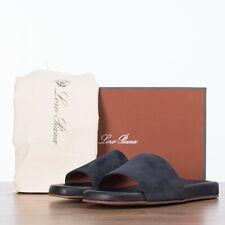 LORO PIANA 645$ Sea-Slide Walk Slide Sandals In Navy Blue Suede