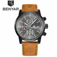 BENYAR Pilot Military Genuine Leather Date 3ATM Men Quartz Wrist Watch Luxury