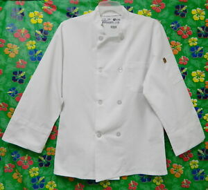 RED KAP EIGHT BUTTON WHITE CHEF COAT SMALL UNIFORM CULINARY COOK