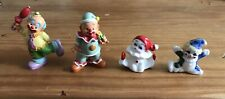 4 Small Vintage Clown Figures Ceramic And Composite