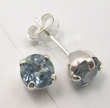 .925 Solid Silver CUT BLUE TOPAZ Cute Studs Posts Earrings 0.7 CM UNISEX JEWELRY