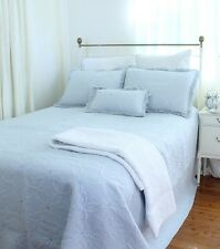 Powder Blue French Country Bedspread Throw Quilt Set King Queen 265x285