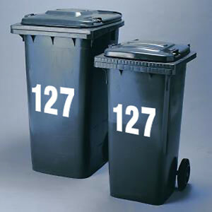 2 Recycling Box/Wheelie Bin number stickers cheapest