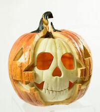 "NEW 8.5"" Realistic Skeleton Skull Jack O Lantern Lighted Halloween Decor"