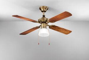 Ventilatore da Soffitto Metallo Ottone Brunito Con Kit Luce Perenz 7064 OB