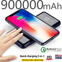 Qi Wireless 900000mAh Power Bank Fast Charging Battery Pack Portable Charger US