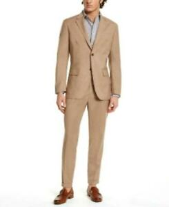 $120 Tasso Elba Classic-Fit Stretch Tropical Weight Sportcoat Beige Size Small
