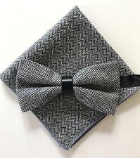 Coffret Noeud papillon et Pochette assortie motif Chevron noir blanc cuir laine