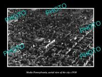 OLD LARGE HISTORIC PHOTO OF MEDIA PENNSYLVANIA, AERIAL VIEW OF THE CITY c1930