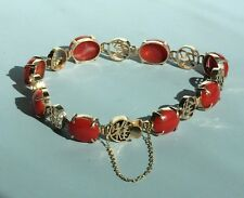 Vintage Chinese Character 14 K Rose Gold AKA coral Oxblood Red Coral Bracelet
