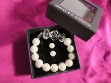 RRP £50, SNO OF SWEDEN, Adjustable Pearl Bracelet & Earrings SEALED BOX GIFT NEW