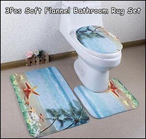 3Pcs/set Vogue Soft Flannel Bathroom Rug Set Contour Rug Mat (Beach)