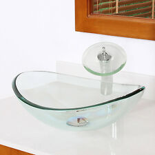 US Bath Oval Clear Tempered Glass Vessel Sink Vanity Bowl Chrome Faucet&Drain