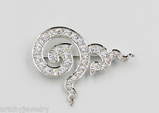 White Rhodium 925 Silver Large Brooch New Memorial Thai King Rama 9 Collectible