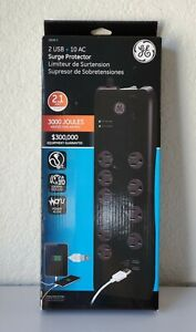 GE Surge Protector 10 Outlets + 2 USB Charging 10 W 2.1 AMP