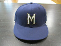 New Era Milwaukee Brewers Fitted Hat Cap Size 7 Blue Gold Baseball Wool Mens