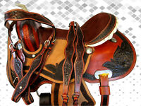 15 16 USED WESTERN BARREL RACING PLEASURE HORSE TRAIL RODEO BARREL RACING SADDLE