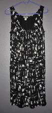 Ann Taylor Loft Black/White Sleeveless Modal/Spandex Dress Petite Women's  6P