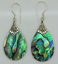 Handcrafted Abalone Shell  Dangle Earrings in 925 Sterling Silver Bali Jewellery