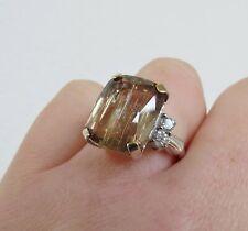 Natural Color Change 15 cts Turkish Diaspore 14k White Gold .40 cwt diamond ring
